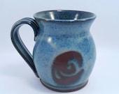 Handmade pottery Mug ceramic - handmade blue pottery ceramic coffee mug pottery tea mug.