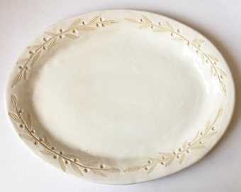 Ready to Ship, Olive Branch, Large, Hand built, Serving Platter, Sgraffito, Plate, Off White, Wedding, ooak, Turkey, Anthropologie, Table