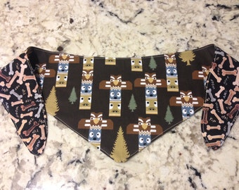 Tie-on Dog Bandana in Totem and Dog Biscuits - Medium & Large