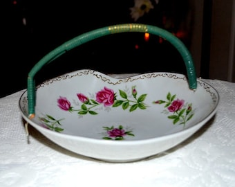 Sale - Vintage  Candy Dish With Plastic Coating Handle Made By Ucagco Ceramics Japan