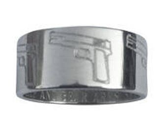 Second Amendment Gun  Ring 10mm Wide Sterling Silver