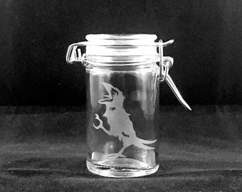 Grateful Dead Glass Crow Stash Jar Wake Of The Flood Hand Etched
