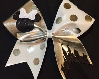 Disney Cheer Bow - Minnie Mouse Inspired-white, silver and black