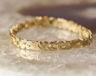 Vintage 14k Gold Hawaiian Plumeria Flower Link Bracelet