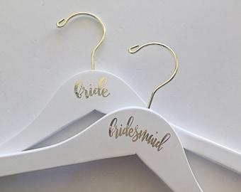 Bridesmaid and Bride Coat Hanger - Wedding, Bridal, Gold Foil, White