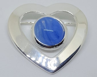 Blue Heart Brooch Fused Glass Gift for Her, Birthday Present for Best friend, Mothers Day for Mum, Grandma Stick Pin, Cobalt Blue Jewellery