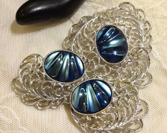 """Pretty Sarah Coventry """"Royal Plumage""""  Brooch and Earrings"""