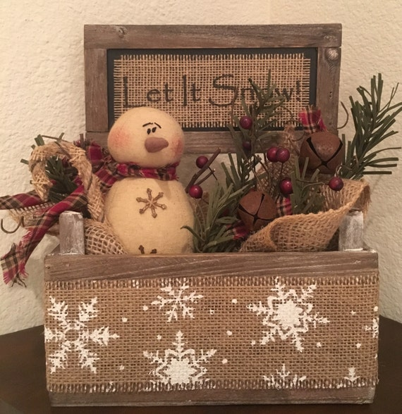Primitive christmas honey and me snowman let it snow barn wood