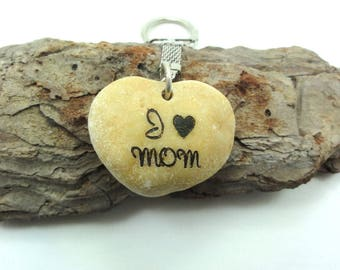 Mothers Day Gift , Natural Heart Shaped Engraved Dead Sea  Beach Stone Keychain I Love  MOM Gift Israel Gift for mother
