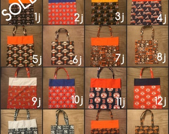 MLB Tote Bag - Mets, Nationals, Braves, Phillies, Pirates, Yankees, Orioles, Red Sox, Giants, Cardinals