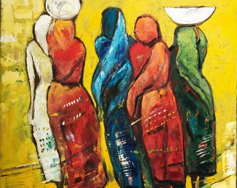 Indian women abstract painting in print
