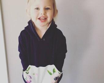 Model Sample- Purple floral Toddler hoodie. Organic cotton floral