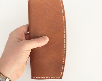 Leather Tall Wallet - brown