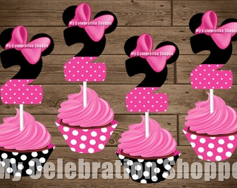 INSTANT DOWNLOAD Pink Minnie Mouse Cupcake Toppers And Wrappers