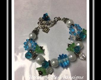 Turquoise Blue Lampwork Bracelet set, Artisan Lampwork Bracelet, Pearl Braceletand Earring Set