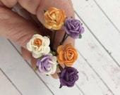 Purple and Orange Flower Hair Pins // Weddings, Bridesmaids, Prom, Thank You Gifts, Holidays // Romantic Hair Styles