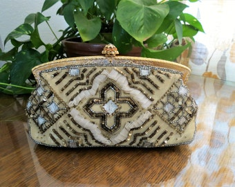 Designer Beaded Evening Clutch with Sequins and Jeweled Clasp Larisa Barrera