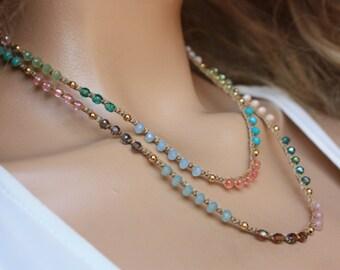 Gold Turkish Coin Crocheted Necklace/Five Wrap Bracelet , Boho Chic Bracelet