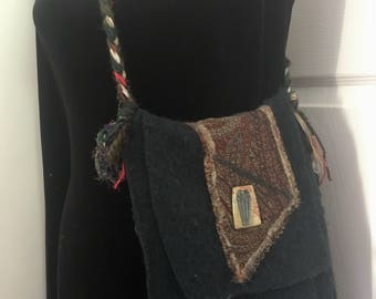 Handmade felted wool up-cycled vintage fall purse messenger bag