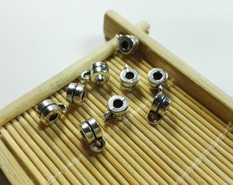 30pcs antique silver  bail beads ,Tibetan stone charms(4mm x 6 mm)