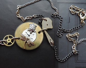 "Steampunk jewelry. Necklace""breakfast time""."