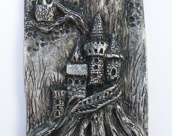 Owl and Castle Tree Tile - Silver