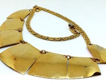 Napier Gold Tone Modernist Bib Choker Necklace,  Retro Collar Chain Costume Jewelry