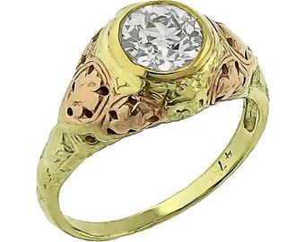 Victorian 1.01ct Old European  Cut Diamond 14k Green & Rose Gold Ring