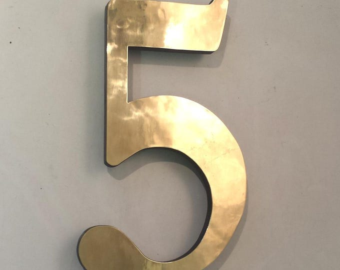 "Brass Block 3D house numbers  6""/150 mm in Garamond font,   laquered, standoff/floating fitting e"