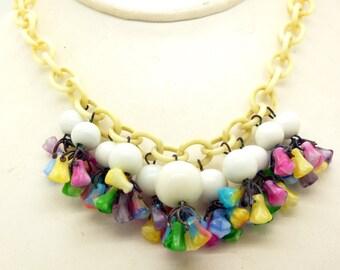 Antique Colorful Art Deco Czech Glass Flower Dangle Necklace, Celluloid Chain