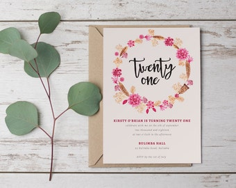 DIY Printable Floral Boho Wreath 21st | Twenty First Birthday Invitation in Pink, Red and Brown