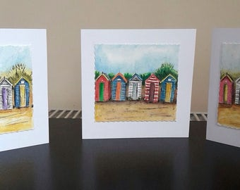 Set of 3 Beach hut, beach house, blank note cards , hand printed, drypoint, coloured pencils, watercolour, coloured pencils, handmade.