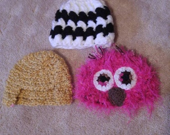 CLEARANCE ** Lot of 3 hats, fitting 13-15 inch heads