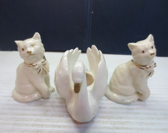 Adorable Lenox Cats And Lenox Blue label Swan