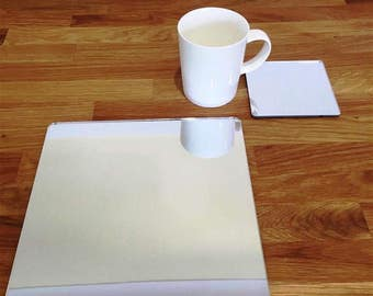 Square Placemats or Placemats & Coasters - in Silver Mirror Finish Acrylic 3mm