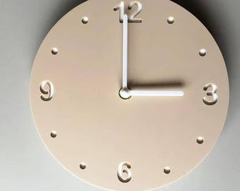"Round Beige & White Clock - White Acrylic Back, Mat Finish Acrylic with White hands, Silent Sweep Movement.  Sizes 8"" or 12"""