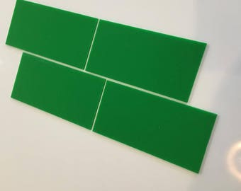 "Bright Green Gloss Acrylic Rectangle Crafting Mosaic & Wall Tiles, Sizes: 1cm to 25cm -  1"" to 10"""