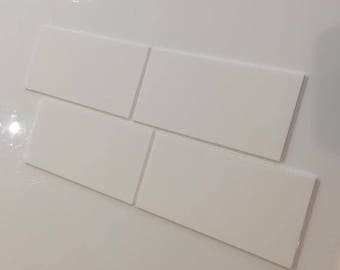 "White Gloss Acrylic Rectangle Crafting Mosaic & Wall Tiles, Sizes: 1cm to 25cm -  1"" to 10"""