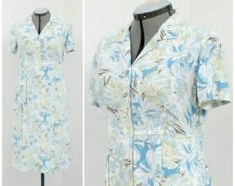 Vintage 90s Eddie Bauer White Floral Dress, Midi Dress, Shirt Dress, Spring Dress, Summer Dress, Casual Dress, Short Sleeve Dress