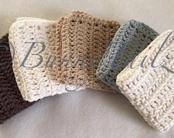 Cotton Crochet Dishcloths, Washcloths Handmade, Set of 5 Dishcloths, Gray Dishcloth, Brown Dishcloth