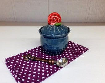 Little Blue Keepsake Jar with Red Rose