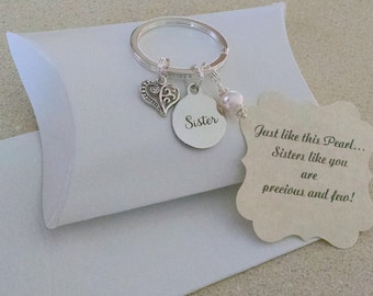 Gift For Sisters, Sisters Gift, Sister Gift, Sister, Pearl KEYCHAIN, Charm is Size of a Nickel, Comes With Card