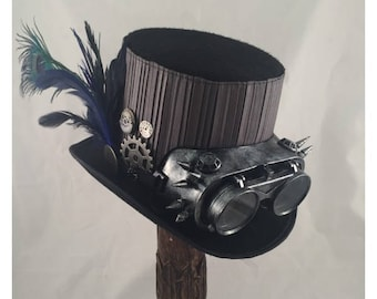 STEAMPUNK TOP HATS, Steampunk Shop, Steampunk Accessories, Tall Top Hat, Black Gray, Blue Feathers , Spiked Goggles, Clock Parts