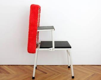 Vintage Step Stool //  Ladder Stool // Folding Stool // Mid Century Orange Kitchen Stool // Household Helpers