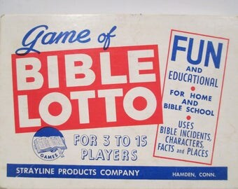 "Vintage Game of Bible Lotto, 1960 Fun and Educational Religious Game, Strayline Products Hamden CN, ""Puts Religion into Recreation"""