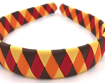 Fall Headband with Brown, Yellow, Orange and Red Ribbon Woven Headband