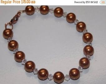 15%OFF Copper Swarovski Pearl and Crystal Bracelet