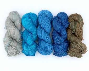 LIMITED - The Last Ship to Valinor - mini-skein set - 5 20g Mini Skeins - Tonal Yarn (Everyday Sock)
