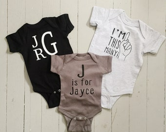 Set of Three: Cute/Customized Onesie for Baby // Baby Shower Gift // Unique Onesies
