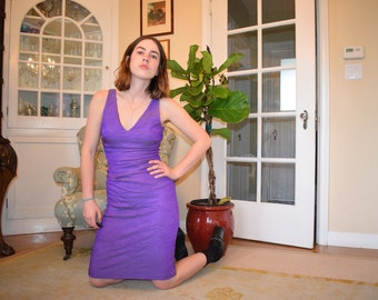 90s Ruched and Wrinkled Purple Bodycon